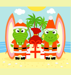 Tropical christmas background with alligator vector