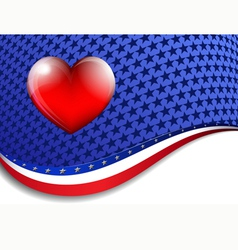American Background with a heart vector image