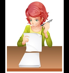 A woman taking an exam vector