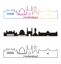 Hyderabad skyline linear style with rainbow vector