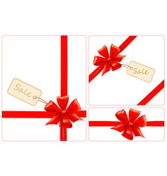 Set of red gift bows with ribbons and sale labels vector