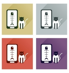 Concept of flat icons with long shadow mobile pet vector