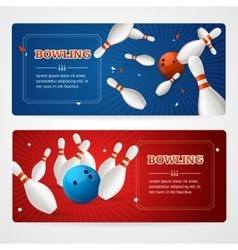 Bowling banner card set vector