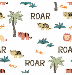 Animals wild africa seamless background vector