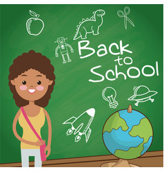 Back to school student girl globe board sketch vector