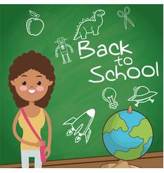 Back to school student girl globe board sketch vector