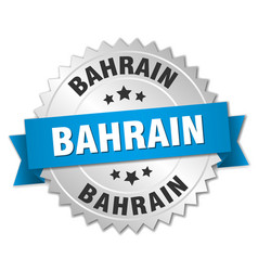 Bahrain round silver badge with blue ribbon vector