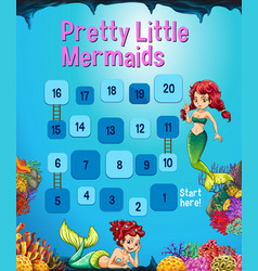 Boardgame template with mermaid in the ocean vector