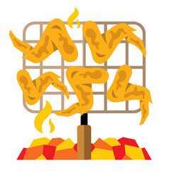 Chicken wings on the grill flat style vector