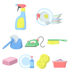 Cleaning set icons in cartoon style big vector
