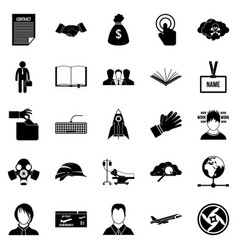 clerk icons set simple style vector image vector image