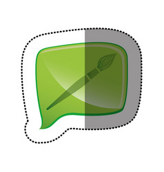color sticker with brush icon in square speech vector image