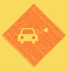 Eco electric car sign red scribble icon vector