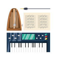 Electric keyboard with music sheets concept music vector
