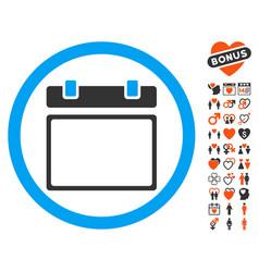 empty calendar day icon with love bonus vector image