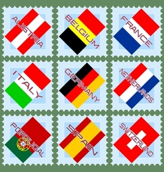 European flags on stamps vector image