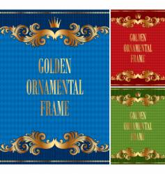 frame with golden ornament vector image vector image