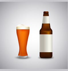 full glass of beer with bottle template vector image
