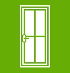 glass door icon green vector image