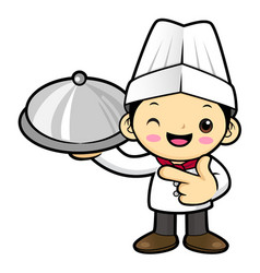 happy cook character holding a pot isolated on vector image