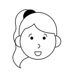 Happy woman with ponytail cartoon icon imag vector