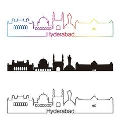 Hyderabad skyline linear style with rainbow vector