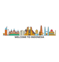 indonesia outline skyline indonesian flat thin vector image