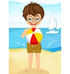 little boy playing ball on tropical beach vector image vector image