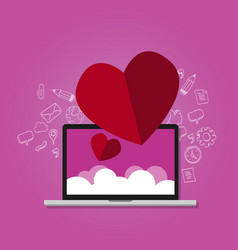 Love shape on laptop with cloud screen online vector