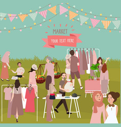 market full of people outdoor crowd shopping vector image