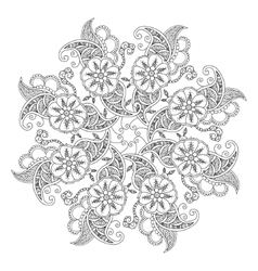 Mendie Mandala with flowers and leaves For vector image