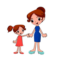 mother and daughter holding hands on a walk vector image vector image