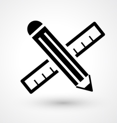 Pencil with ruler icon vector