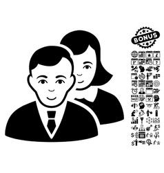 People flat icon with bonus vector