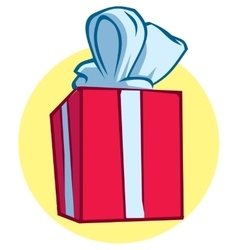 Red gift box with a blue ribbon and bow vector