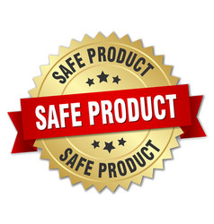 Safe product round isolated gold badge vector
