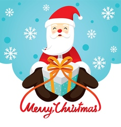 Santa Claus Smiling And Gift Box vector image vector image