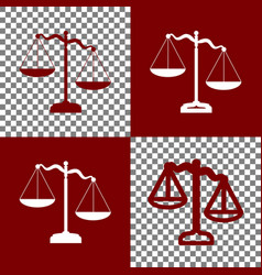Scales of justice sign bordo and white vector
