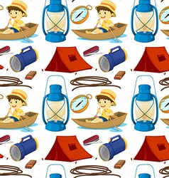 Seamless boy rowing boat and camping gears vector image