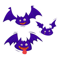 set of 3 bats isolated on a white background vector image