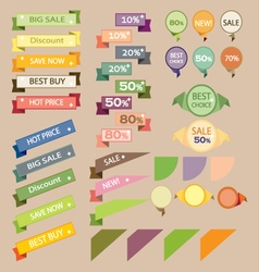Set sale retro ribbons and banners vector image vector image