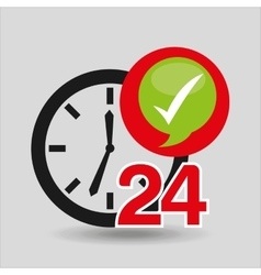Support 24 hours check in vector