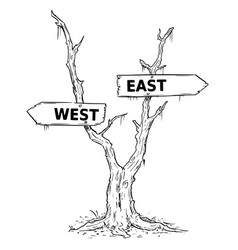 Two arrow sign drawing of west or east on dead vector