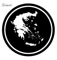 white map of greece on black circle vector image vector image