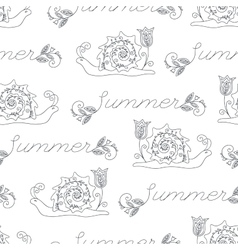 Summer seamless pattern with funny snails vector