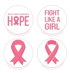 Pink ribbons for breast cancer awareness vector