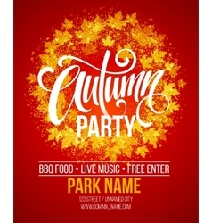 Fall party template for autumn poster banner vector