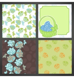 Set of easter backgrounds lots detail vector
