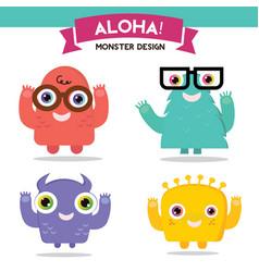 Monster cartoon set vector