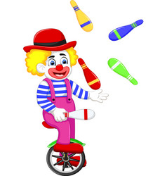 funny clown cartoon playing balls on bicycle vector image